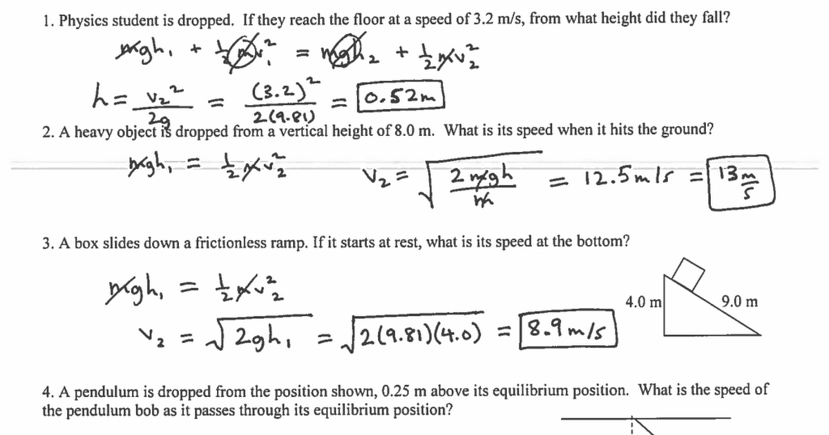 Beautiful Conservation Of Energy Worksheet Best Of Conservation Of