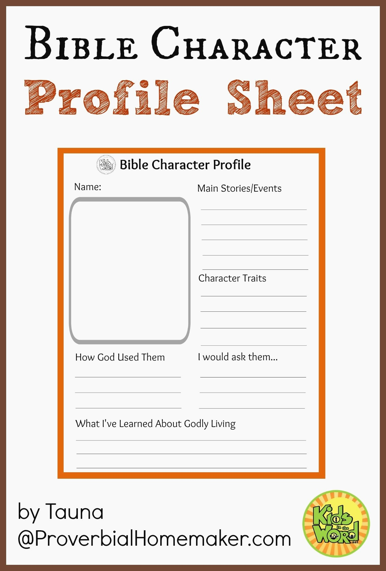 Bible Timeline Worksheet Bible Character Profile Sheet