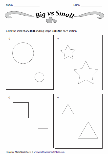 Concept Of Big And Small Worksheets