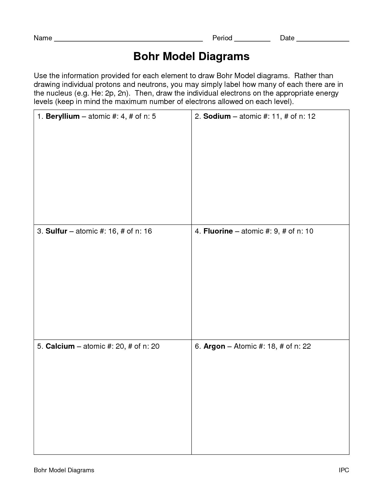 Bohr Model Diagrams Worksheet Answers