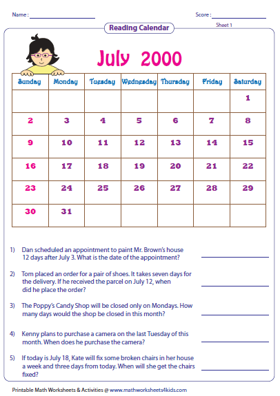 Calendar Math Worksheets 2nd Grade 32829