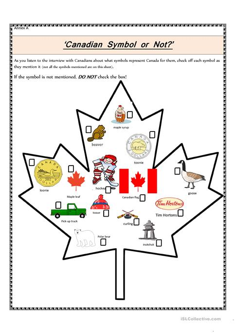 Canadian Symbol Or Not  Worksheet
