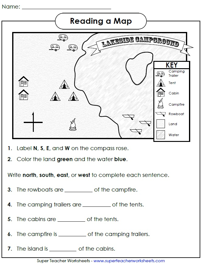 Cardinal Direction Worksheets For Kindergarten 992148