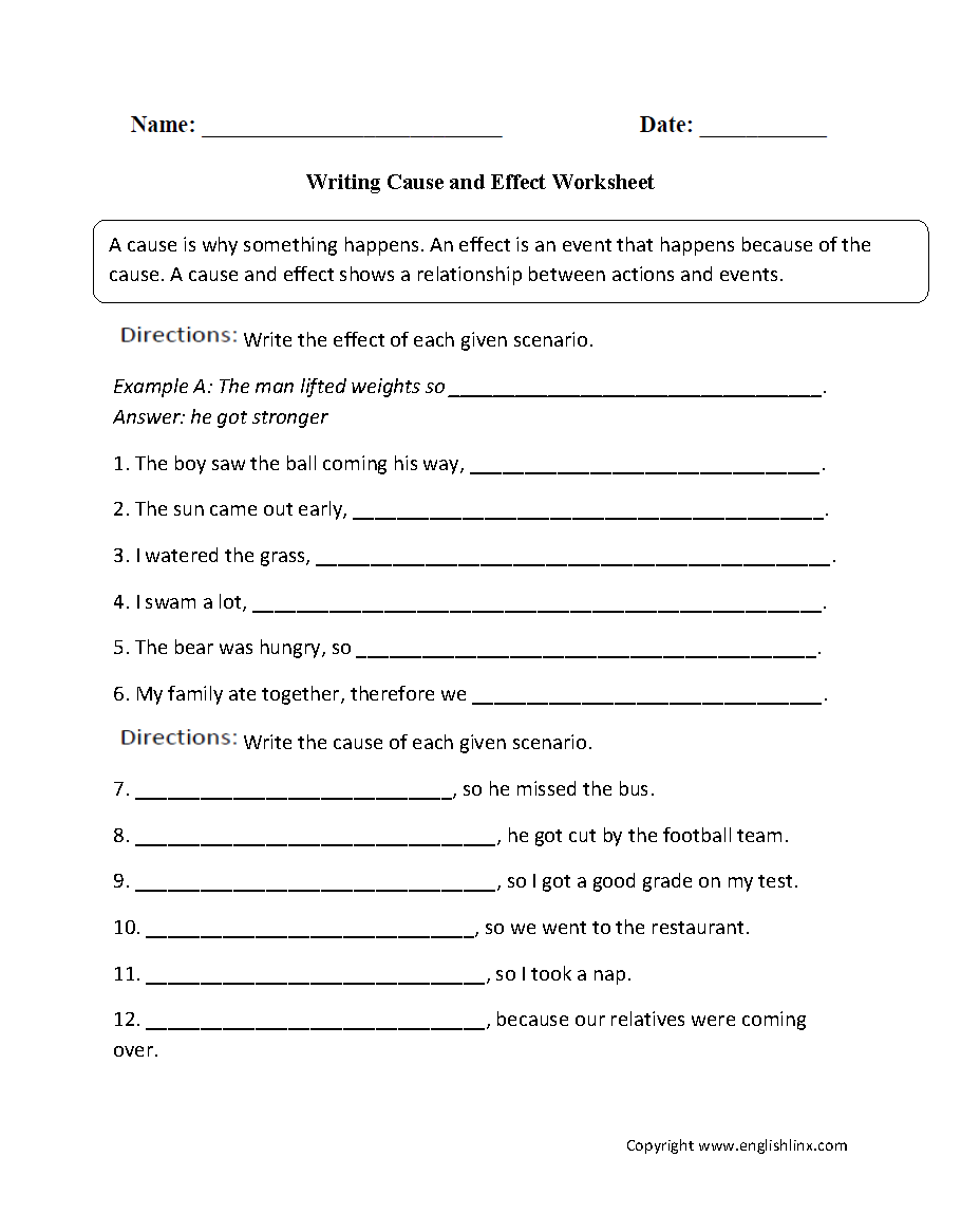 Cause And Effect 3rd Grade Worksheets 276563