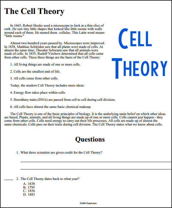 Cell Theory Worksheet The Best Worksheets Image Collection
