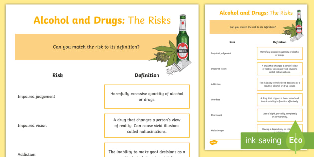 Cfe (second) Alcohol And Drugs  The Risks Worksheet   Activity