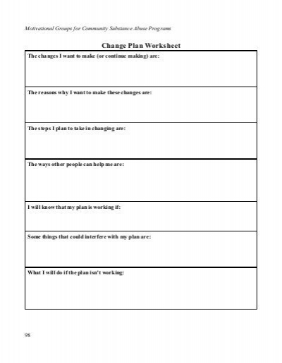 Change Plan Worksheet