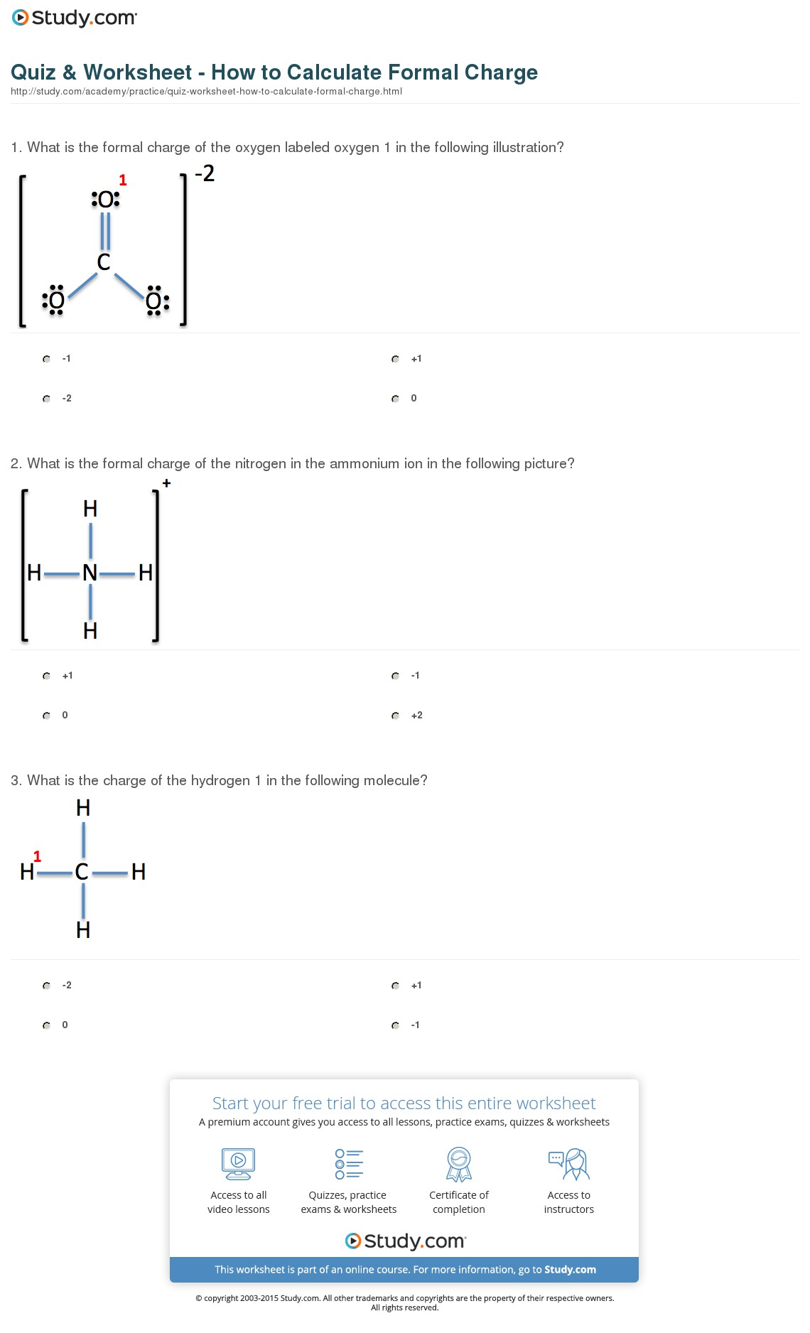 Charge Worksheet Answers