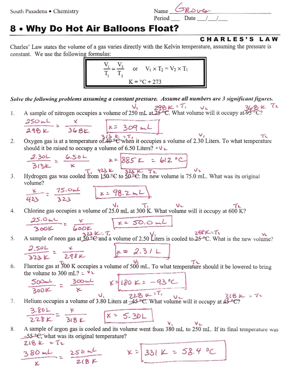 Charles Law Worksheet Answers The Best Worksheets Image Collection