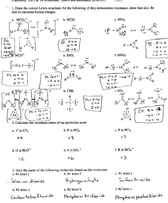 Chemistry Worksheets Lewis Dot Structure