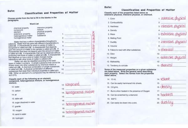 Chemistry Worksheet Matter 1 Unit 1 Matter And Energy Download