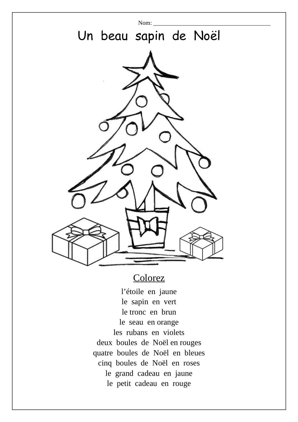 Christmas Worksheet In French 614933