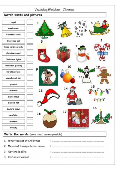 Christmas Worksheets Printables English