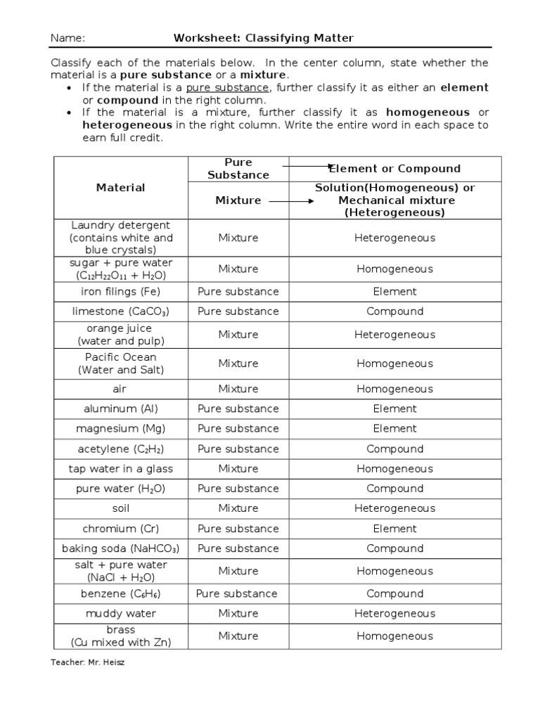 Classifying Matter Practice Worksheet 1265354