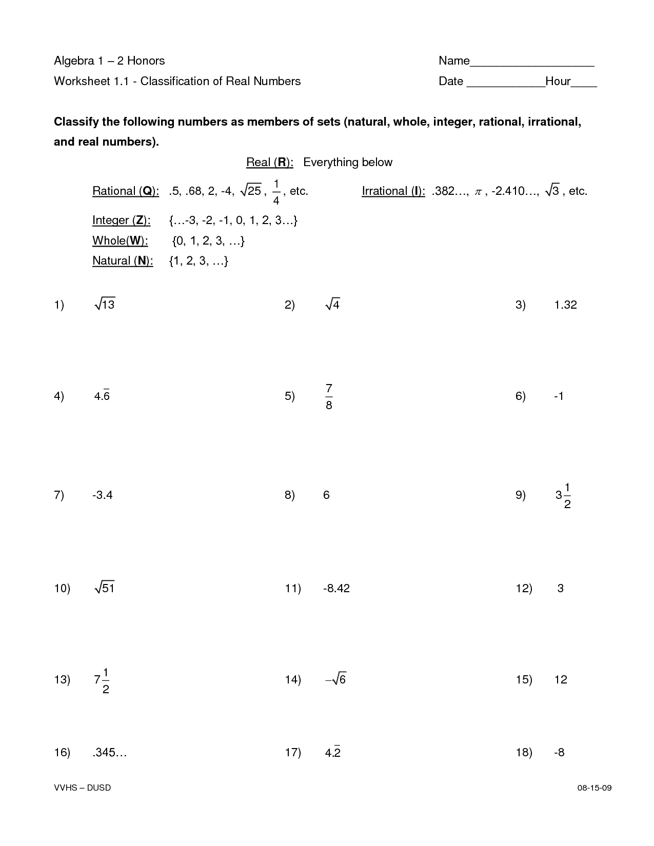 Classifying Real Numbers Worksheet 907813