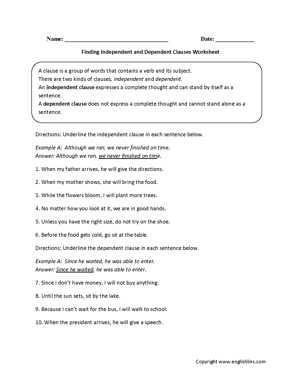 Clauses Worksheets Finding Independent And Dependent, Independent