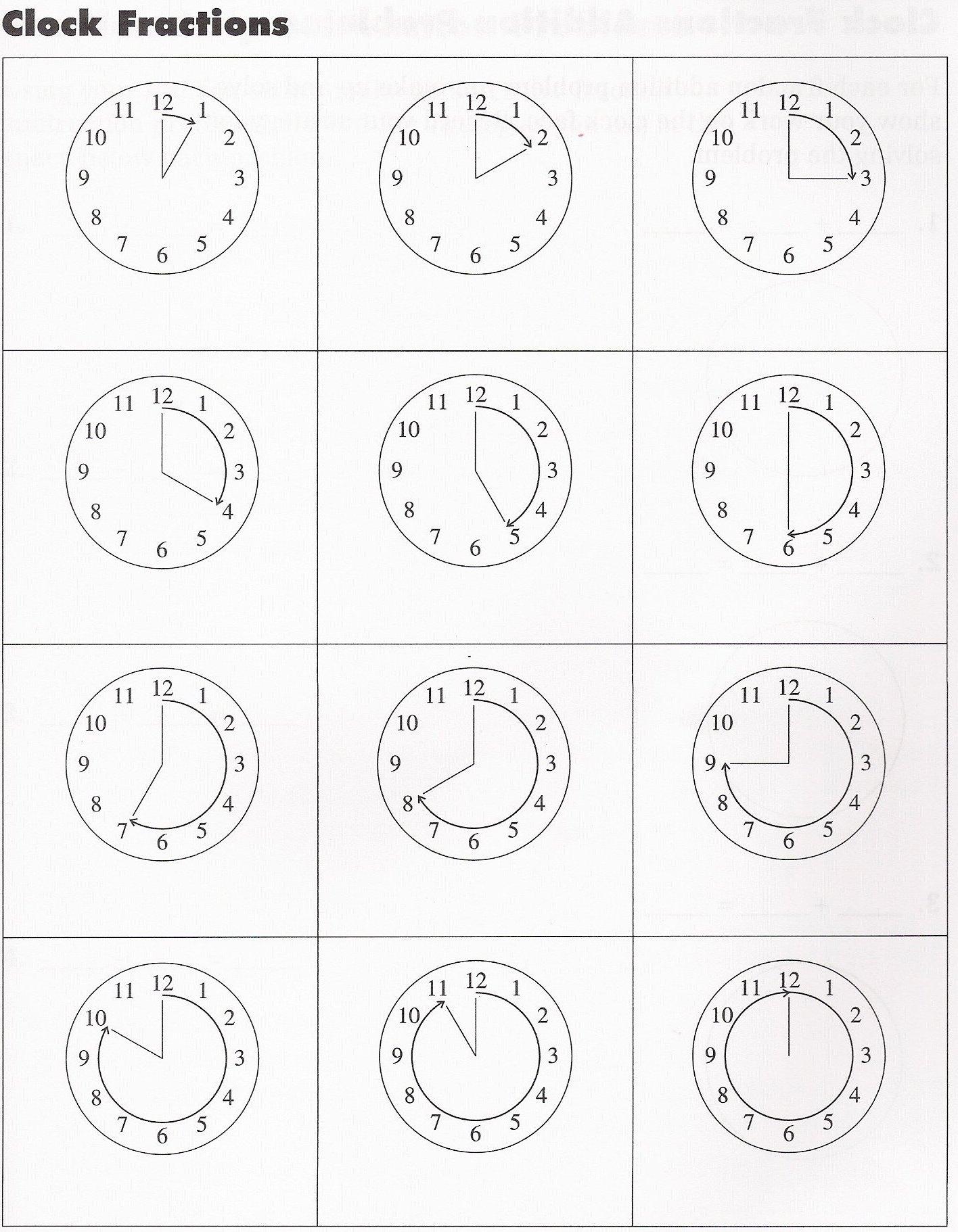 Clock Fractions Worksheet  2345483
