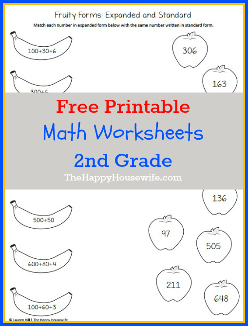 Collection Of 2nd Grade Math Printable Worksheets