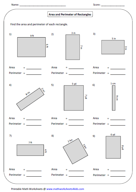 Collection Of 3rd Grade Math Worksheets For Area And Perimeter