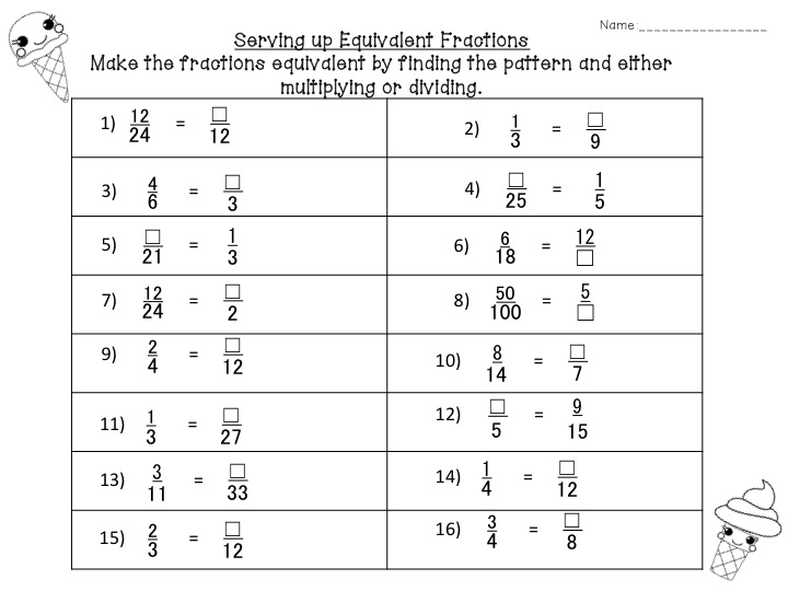Collection Of 4th Grade Math Worksheets Equivalent Fractions