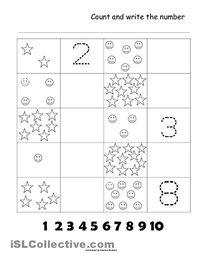 Collection Of Counting 1 To 10 Worksheets Kindergarten