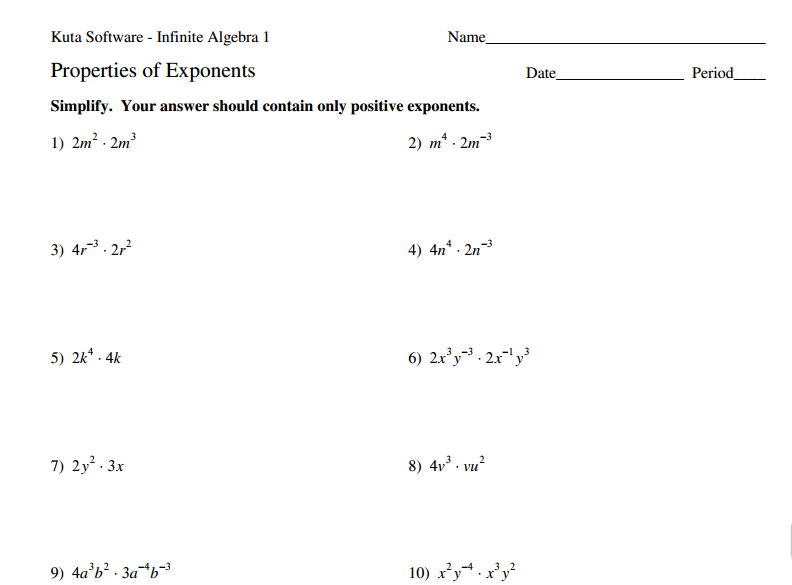 Collection Of Division Properties Of Exponents Worksheets