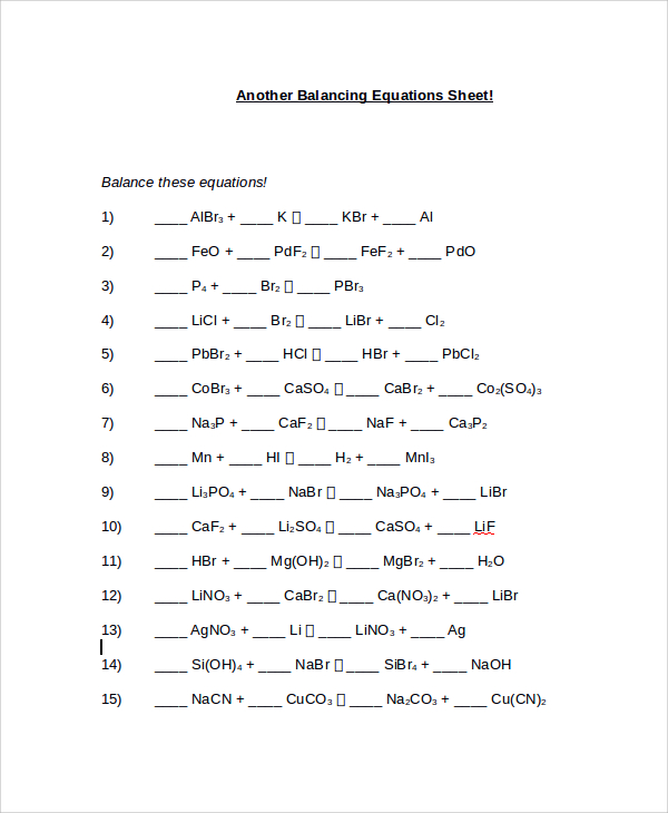 Collection Of Easy Balancing Chemical Equations Worksheet