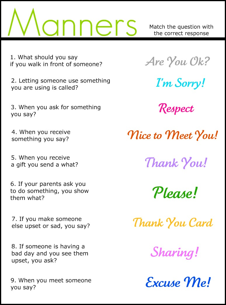 Collection Of Free Printable Manners Worksheets