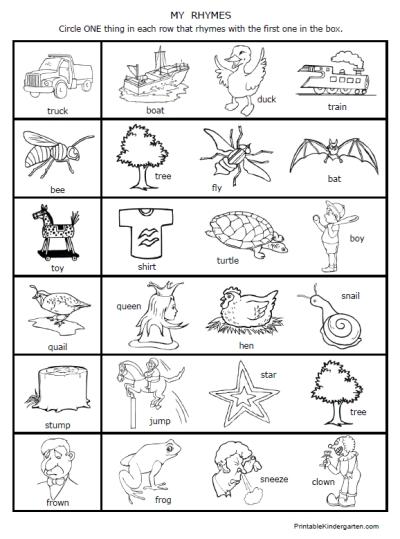Collection Of Free Printable Rhyming Worksheets Kindergarten