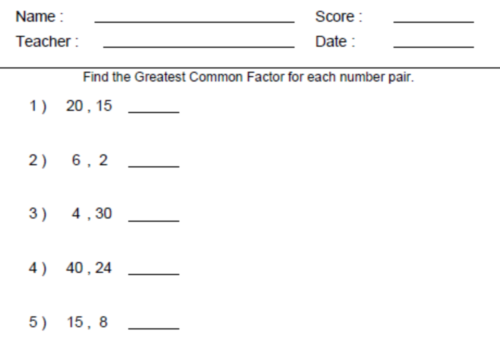 Collection Of Grade 6 Math Gcf Worksheets