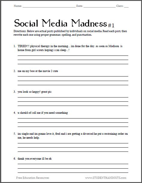 Collection Of Health Worksheets Middle School