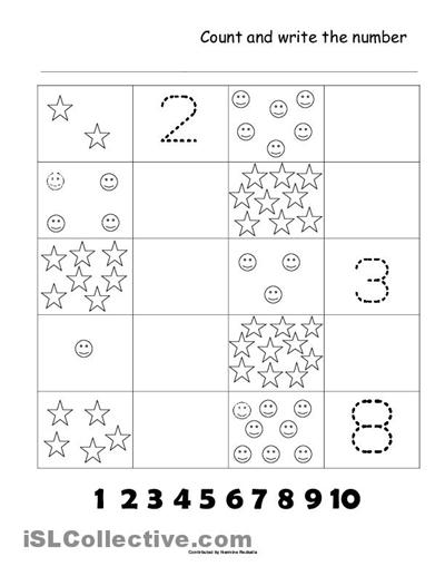 Collection Of Kindergarten Worksheets On Numbers 1 10