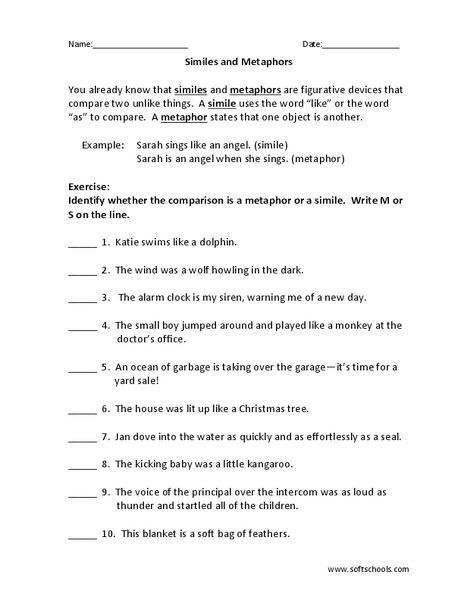 Collection Of Metaphor Worksheet Year 7