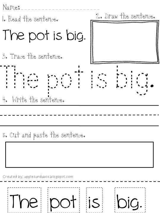 Collection Of Reading Phrases Worksheets For Kindergarten