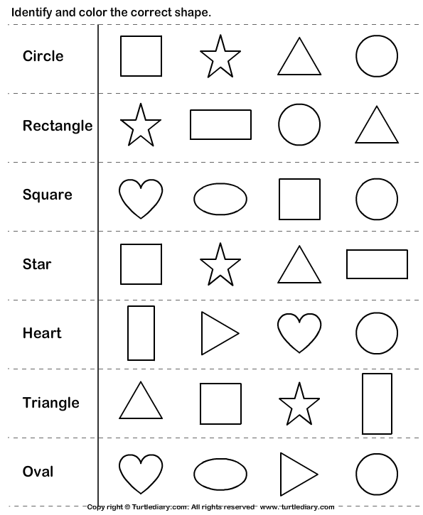 Collection Of Shapes And Colors Worksheets For Kindergarten