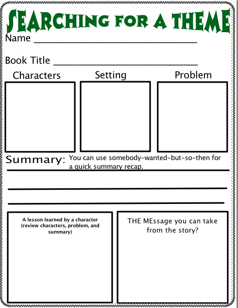 Collection Of Theme Of A Story Worksheets