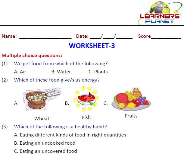 Collection Of Worksheet On Energy Giving Food