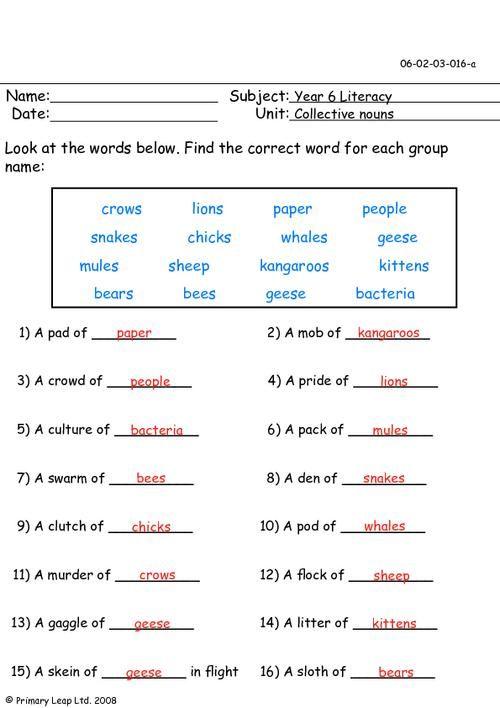 Collective Nouns Worksheet Grade 5