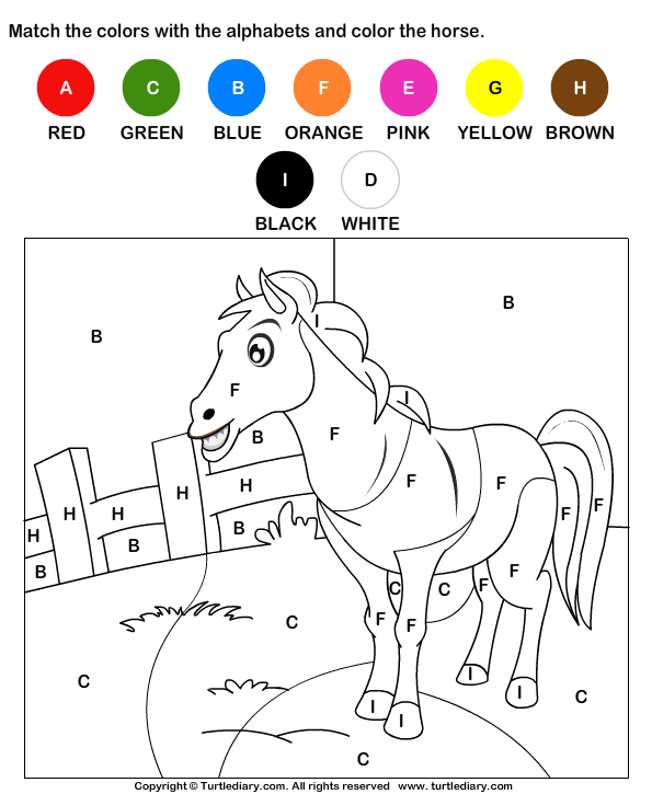 Color The Horse By Alphabets Worksheet