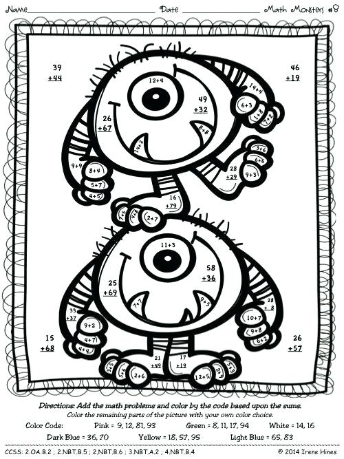 Coloring Pages ~ Double Digit Addition Coloring Worksheets Best