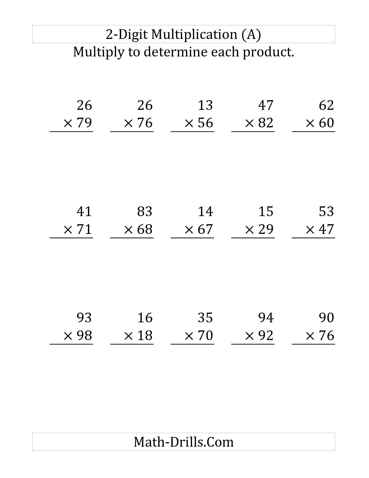 Column Multiplication Worksheets 2 Digit By 2 Digit 354722