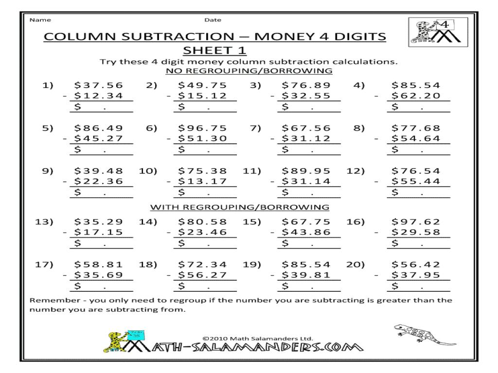 Column Subtraction Money 4 Digits Sheet 1 3rd 4th Grade