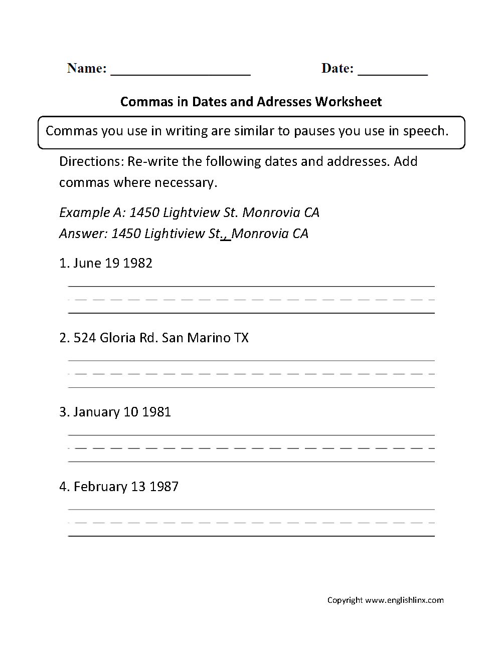 Commas In Dates Worksheets For 2nd Grade 115228
