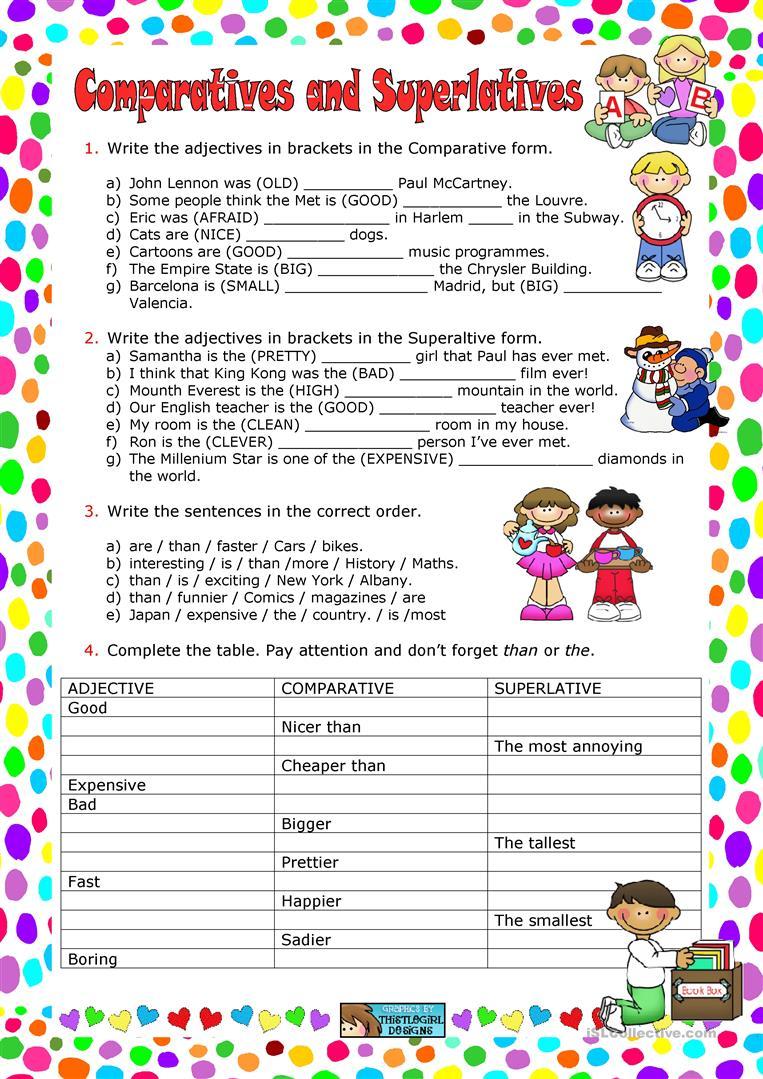 Comparative Superlative Adjectives Worksheet Esl 1073522