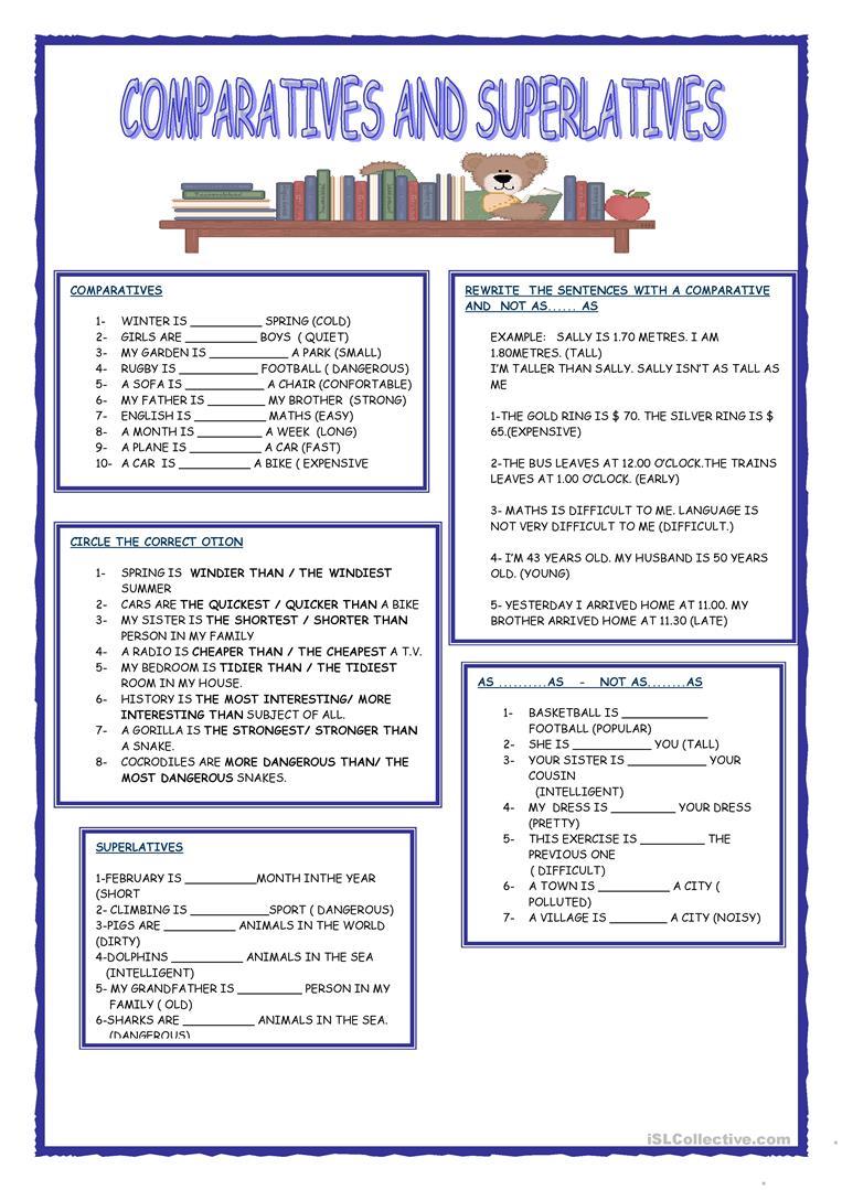 Comparative Superlative Adjectives Worksheet Esl  1073489