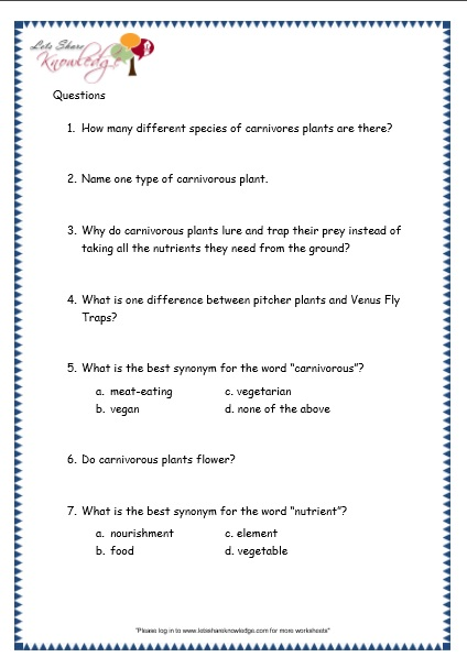 Comprehensions For Grade 3 (ages 7