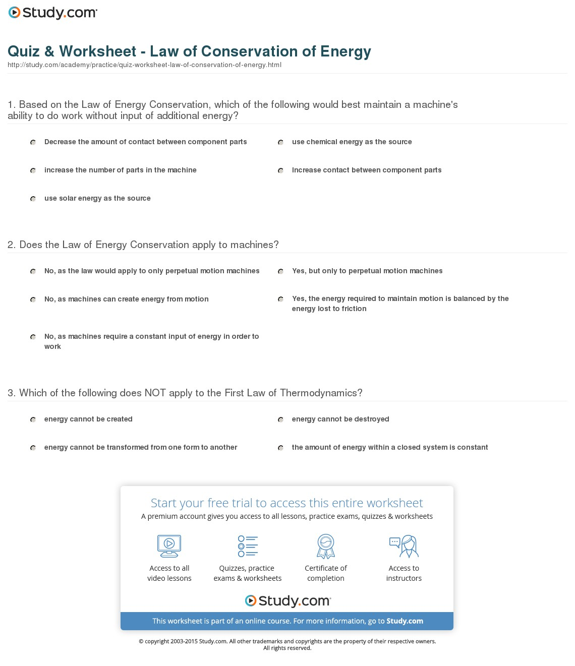 Conservation Of Energy Worksheet With Answers 694154