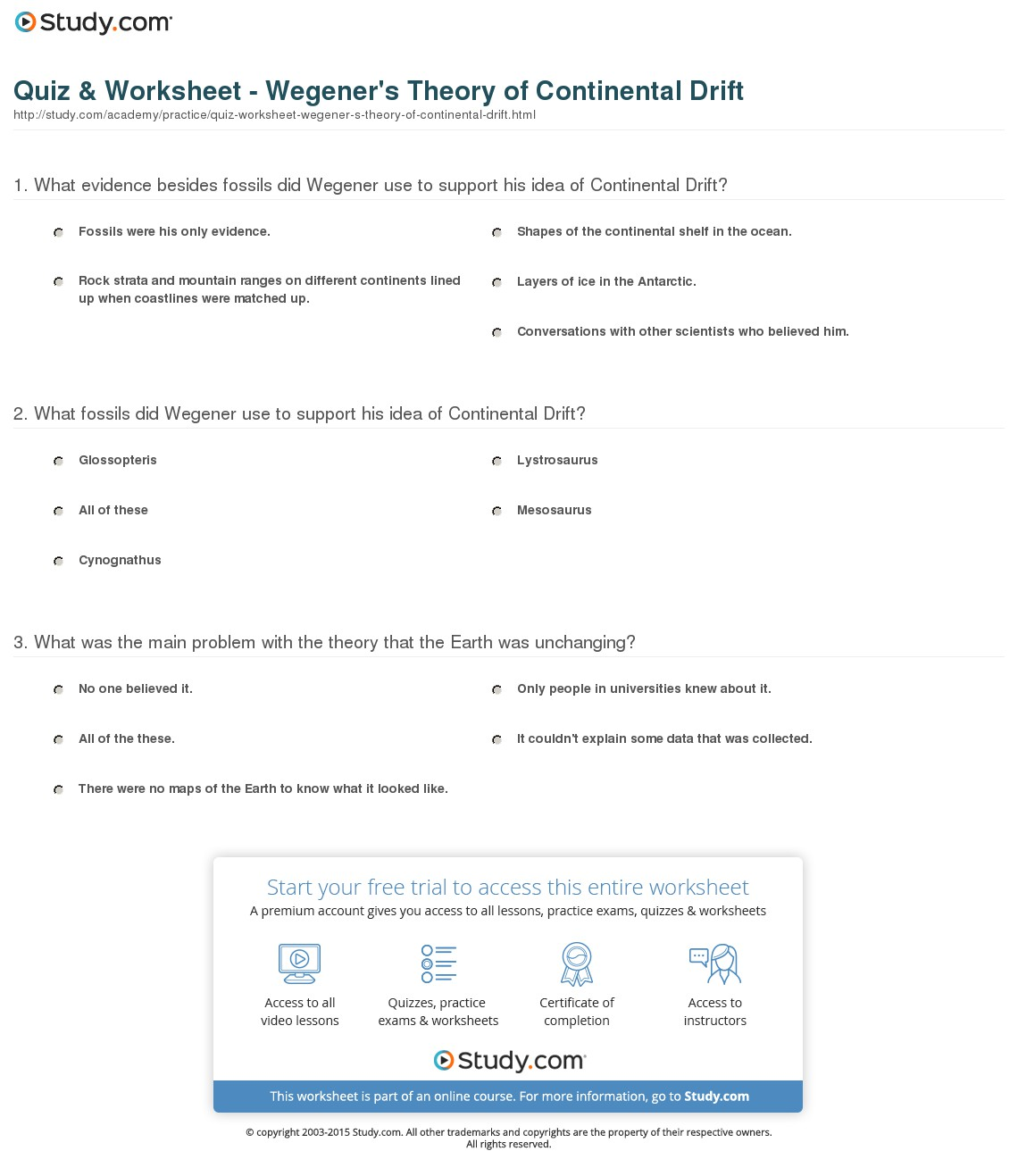 Continental Drift Diagram Work Sheets