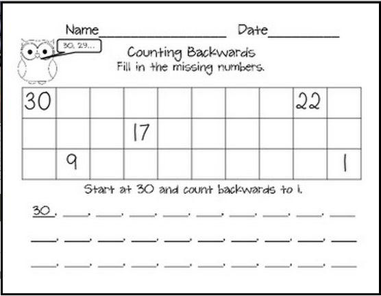Counting Backwards, Counting Backwards Worksheets