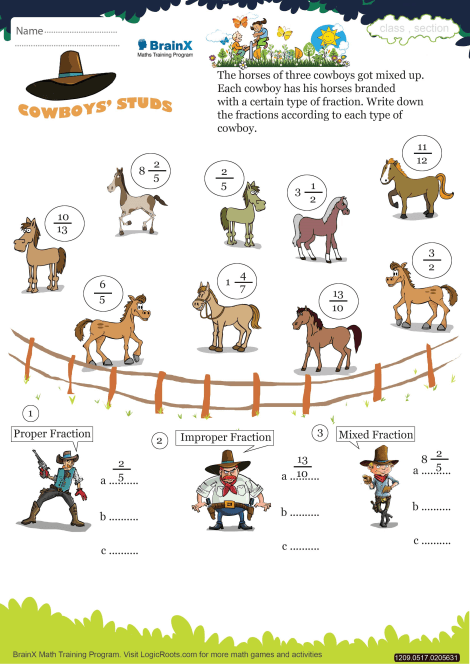 Cowboys Stud Math Worksheet For Grade 5